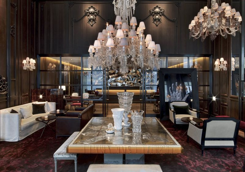 Luxury Chandeliers At Baccarat Hotel In NYC