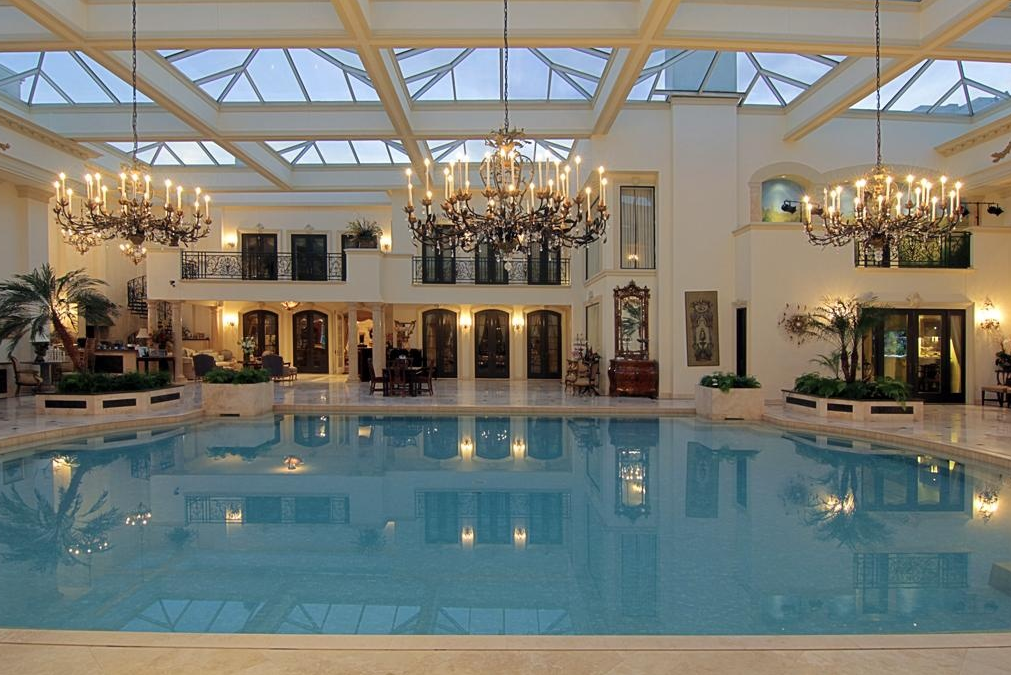 swimming pool chandeliers