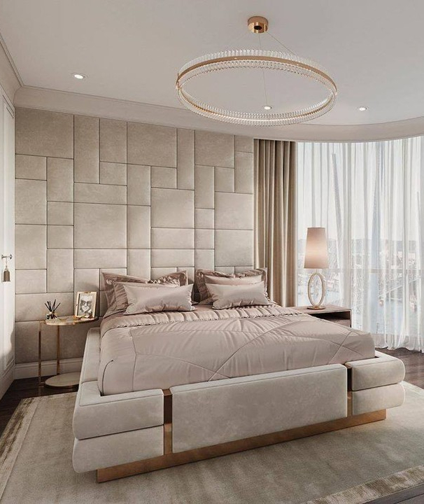 Luxurious bedroom with gold and rose gold details, bed, furniture, lightning, chandelier
