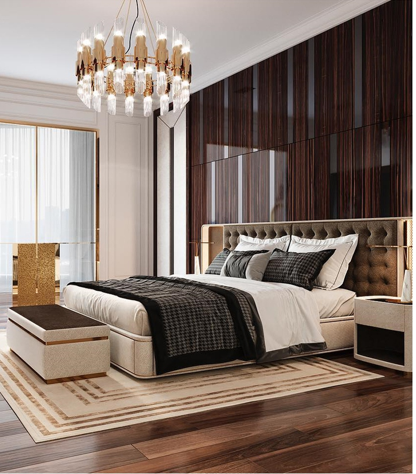 Luxurious bedroom with gold details, bed, furniture, lightning, chandelier