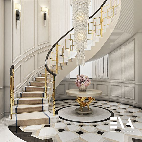 Staircase Chandelier, gold, table